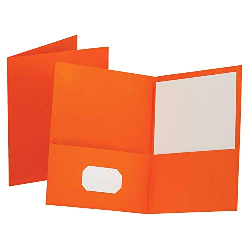 Oxford Twin-Pocket Folders, Textured Paper, Letter Size, Orange, Holds 100 Sheets, Box of 25 (57510EE)