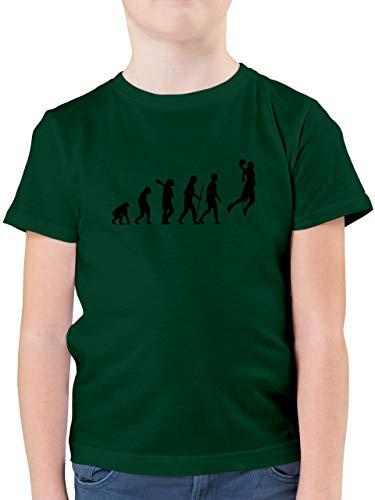Evolution Kind - Basketball Evolution - 164 (14/15 Jahre) - Tannengrün - Basketball Tshirt Kinder - F130K - Kinder Tshirts und T-Shirt für Jungen