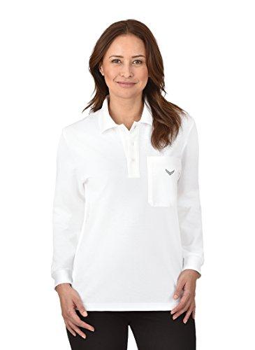 Trigema Damen Langarm Polo-Shirt Langarmshirt, Weiß (weiß 001), 36 (Herstellergröße: S)