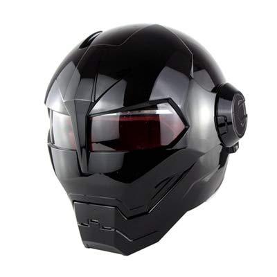 Mdsfe Casco da motociclista elegante e alla moda Capi di vibrazione a forma di teschio Casco di vibrazione Fibbia facile e veloce, fodera morbida e confortevole - nero lucido X XL