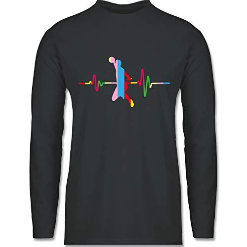 Shirtracer Handball - Bunter Herzschlag Handball Mann - XL - Dunkelgrau - Langarm - BCTU005 - Herren Langarmshirt