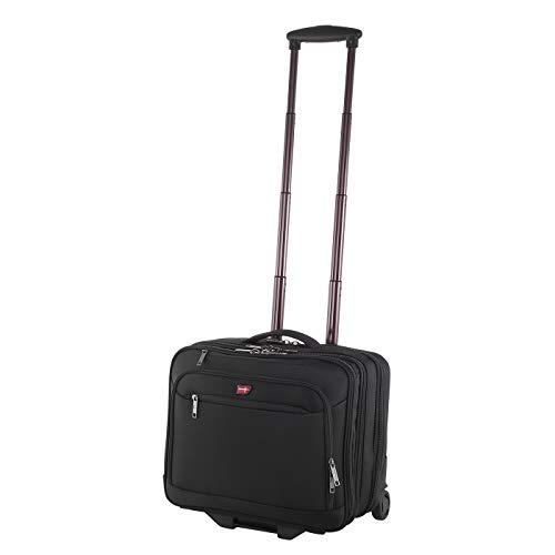 Hochwertiger Business Trolley Von Cronshagen - Aktentasche mit Rollen und Notebookfach bis 17 Zoll - Reisekoffer mit Rollen - Handgepäck Koffer in schwarz