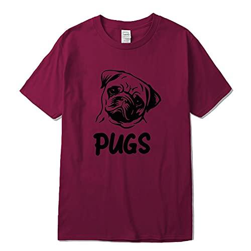 Camiseta de Manga Corta Camisa 3D Hombres Algodón De Manga Corta con Estampado De Pug Cool Hombres Camiseta Casual Suelta Hombres Camisas Tops Hombres L Ls1