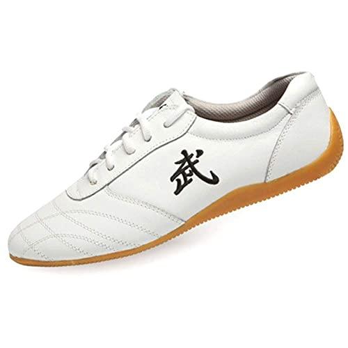 Otoño Zapatos de Tai Chi Unisex Artes Marciales, Zapatos de Kung Fu Taekwondo para Hombres y Mujeres, Adulto Ligera Zapatillas de Entrenamiento Deporte para Boxeo, Karate(Size:43EU/12US,Color:Blanco)