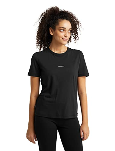 icebreaker Merino Damen Standard Central Short Sleeve Wool T Basic Casual Shirt, Schwarz, Größe L