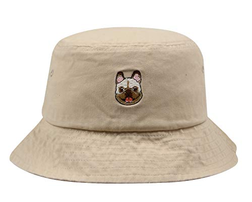 Hatphile Mens Womens Trends Fashion Bucket Hat (Large, Frenchie Khaki)
