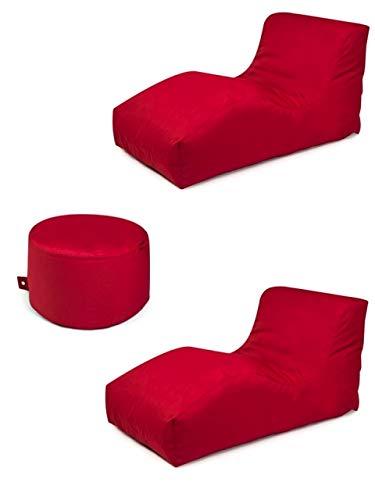 Outbag 3er Set Sitzsack 2 Wave + Rock l Lounge l Rot
