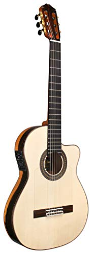 Cordoba 55FCE Negra Ziricote Thin Body Cutaway Classical Acoustic-Electric Nylon String Guitar, Espana Series (made in Spain) with Humidified Hardshell Case