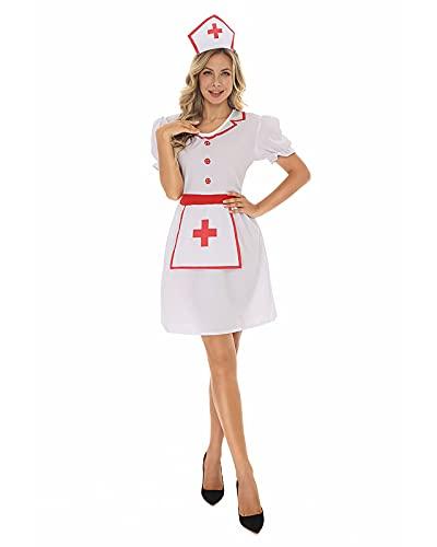YTRDKJSW Mujer Sexy Disfraz Enfermera Colegiala Cosplay Ropa Interior Conjuntos Vestidos para Navidad Halloween,Meduim White