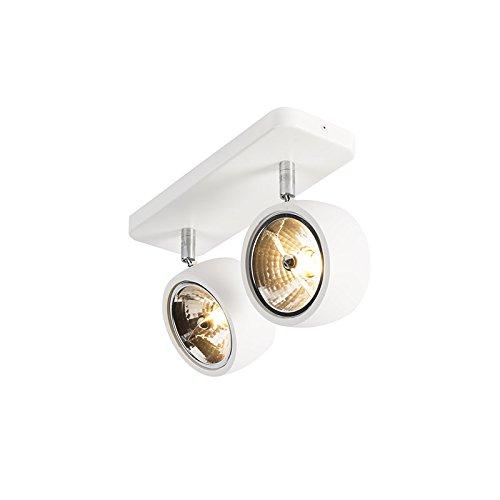 QAZQA Design/Industrie/Industrial/Modern Moderner Spot/Spotlight/Deckenspot/Deckenstrahler/Strahler/Lampe/Leuchte weiß verstellbar - Go Nine 2-flammig/Innenbeleuchtung/Wohnzimmerla