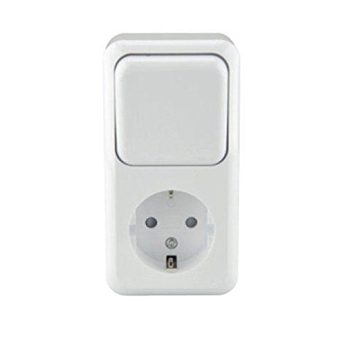 Unitec Kombination Aus-/Wechselschalter / Schutzkontakt-Steckdose STANDARD, AP, elektroweiß