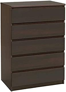 Atlin Designs Contemporary Sturdy 5 Drawer Wood Chest in Coffee