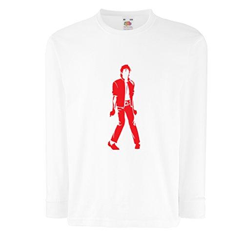 lepni.me Camiseta para Niño/Niña Me Encanta M J - Rey del Pop, 80s, 90s Músicamente Camisa, Ropa de Fiesta (12-13 Years Blanco Rojo)