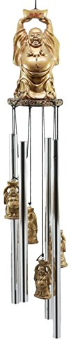 Ebros Feng Shui Lucky Buddha with Golden Nugget Wind Chime 23' Long Resin Crown with Aluminum Rods Fortune Buddha Hotei Wind Chime Home Patio Garden Decor