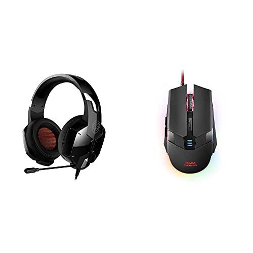 Krom Auricular Gaming Kopa -Nxkromkpst Sonido Stereo, Altavoces 50Mm, Diadema Ajustable + Mars Gaming Mm116, Ratón Gaming para Pc, USB