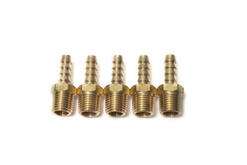 Sin Marca 1/4' Macho BSPT x 1/4'(6mm) Latón de conector de manguera de lengüeta de combustible, gas, agua (5 piezas)