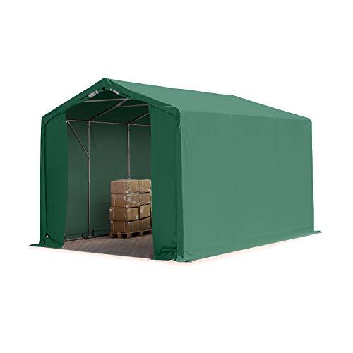 TOOLPORT Tente de Stockage 3x6m, Hangar Tente Industrielle, 3m Hauteur de côté, PVC d'env. 550g/m² imperméable en Vert foncé