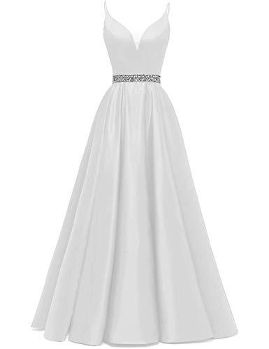 Abendkleider Lang A-Linie Ballkleid Brautkleid Prinzessin Cocktailkleid Satin V-Ausschnitt Partykleid Festkleider Weiß 56