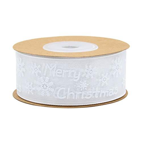ABOOFAN 1 rollo de cinta de impresión de Navidad para decoración de árbol de Navidad, cinta de regalo para lazos de pelo, embalaje de regalo, manualidades, 10 metros, patrón blanco, regalo perfecto