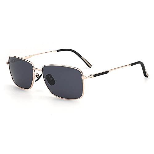 Cuadrado Anti-UV Gafas De Sol para, Hombres Moda ProteccióN para ConduccióN Gafas De Deportes Al Aire Libre De Pesca De Moda Regalo De San ValentíN (Color : Gold Black)