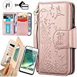 iphone 8 Plus Purse Case,iphone 7 Plus Wallet Case,Auker Trifold 9 Card Holder Vintage Book Leather Folio Flip Magnetic Protective Wallet Case with Mirror&Cash Pocket for iphone 7 Plus/8Plus Rose Gold