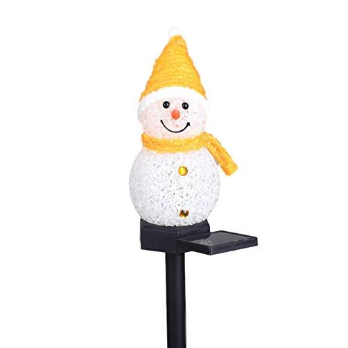 mementoy Luces solares de jardín de Navidad muñeco de nieve LED decoración de jardín al aire libre impermeable lámpara