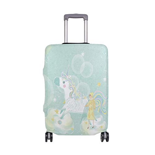 Travel Lage Cover Green Fresh Beautiful Little Girl Balloon Pony Unicorn Suitcase Protector Fits 26-28 Inch Washable Ba.