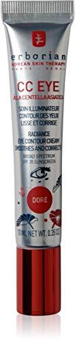 Erborian - CC Eye Crème Contour des Yeux - Teinte Dorée - Soin Illuminateur Contour des Yeux à la Centella Asiatica - SPF 20 - Soin du Visage Coréen - 10ml