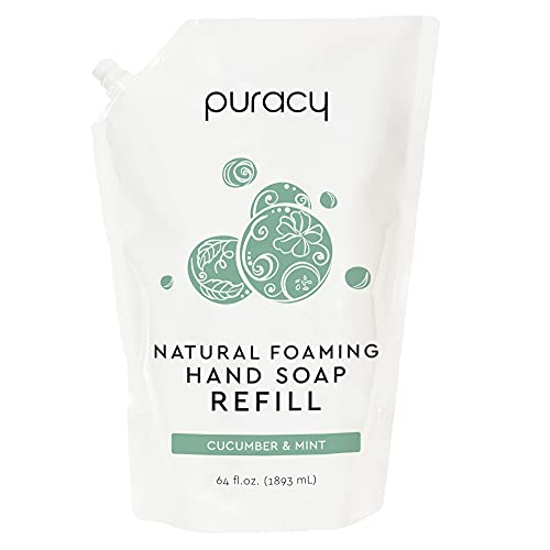Puracy Natural Foaming Hand Soap Refill, Cucumber & Mint, 64 Fl Oz, Sulfate-Free Hand Wash Foam
