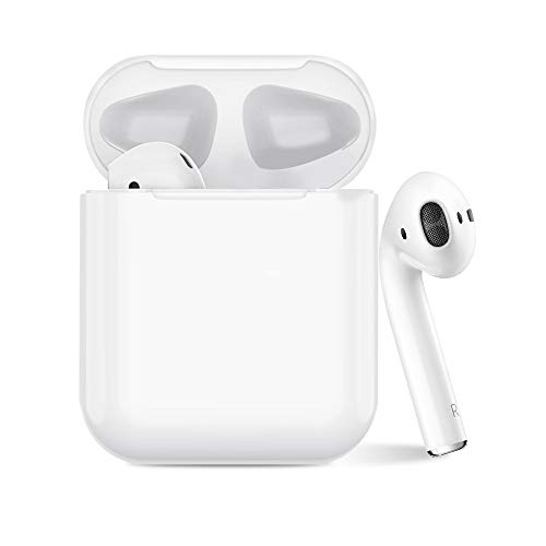 Wireless Earbuds Bluetooth Headphones,Stywvoe Bluetooth 5.0 Auto Pairing in-Ear Headphones with Portable Case Wireless Charging Case (White) 0409-04