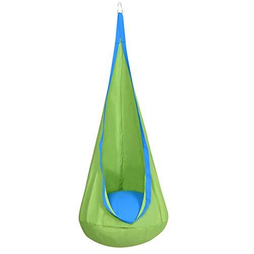 DREAMADE Hängehöhle für Kinder, Hängesessel Kinderhängesitz für innen und draußen, Kinder Hängesack als Fly Schaukel, Kinderhängeplatz Hängeschaukel mit Sitzkissen, max. 80kg belastbar (Grün)