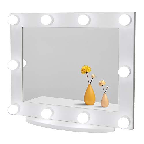 Waneway Espejo Maquillaje Grande con Luz, Espejo de Tocador Hollywood Iluminado con 10 Bombillas Regulables, Múltiples Modos de Color, Sobremesa o Montado en la Pared, Blanco