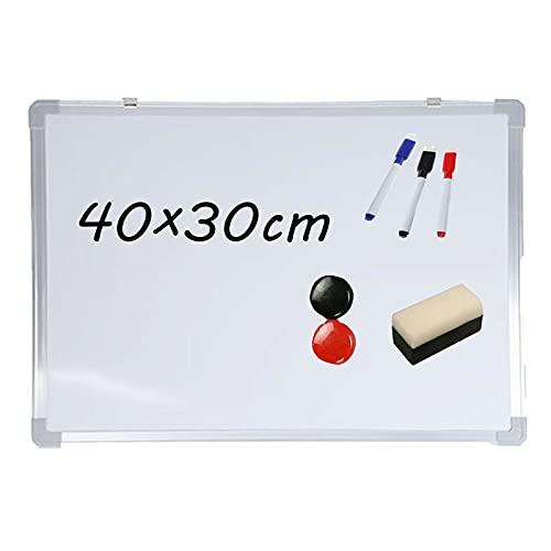 Magnetisches Whiteboard Planungstafeln Magnettafel, 40 cm x 30 cm, mit Stiftablage und Aluminiumleisten, Trocken Abwischbar, für Schulunterricht/Klassenzimmer/Büro/Kinder/Meeting