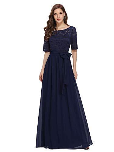 Ever-Pretty Damen Abendkleid A-Linie Spitze Abschlusskleid Kurze Ärmel große Größe lang Navy blau 52