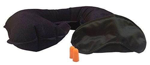 Cuscino da viaggio gonfiabile | Cuscino gonfiabile per il collo | Set da viaggio 3 pezzi | Cuscino cervicale da viaggio | Maschera e Spine