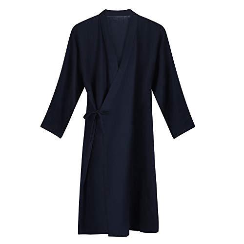 Qchomee Herren Kimono Männer Morgenmantel Casual Yukata V-Ausschnitt Schlafrock Langarm Schlafmantel Schlafshirt Baumwolle Bademantel, L, Navy