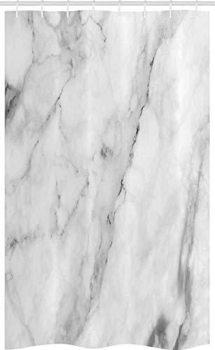 ABAKUHAUS Marmor Schmaler Duschvorhang, Granit Oberfläche Motiv, Badezimmer Deko Set aus Stoff mit Haken, 120 x 180 cm, Weiß Grau