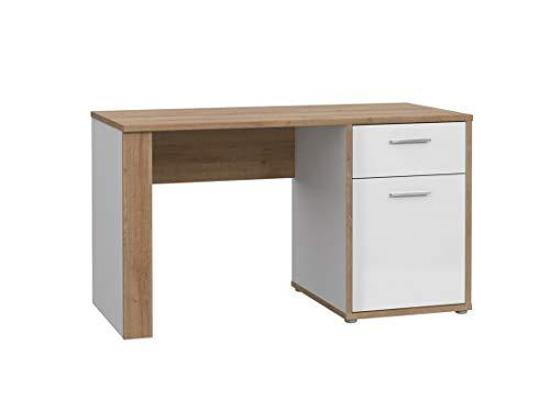 Furniture24 Schreibtisch Chicory CHRB211, mit Schublade und Tür, Hochglanz Weiß - Riviera Eiche