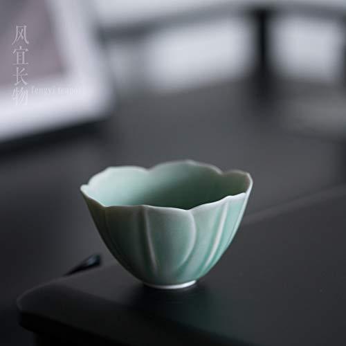 GBCJ Jingdezhen Soda Taza De Té Verde Taza De Cerámica Pu'Er Té De Kung Fu Zhanxi Verde Japonés Antiguo Lotus Master Cup Tazón De Té Pequeño Juego De Té Hecho A Mano Platillo