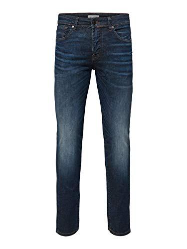 SELECTED HOMME Herren Slhslim-Leon 6156 D.Blu Su-St JNS W Noos Slim Jeans, Blau (Dark Blue Denim Dark Blue Denim), W32/L32 (Herstellergröße: 32)