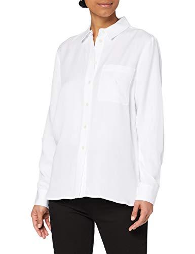 Calvin Klein Easy Drapey Shirt Camisa, Bright White, S para Mujer