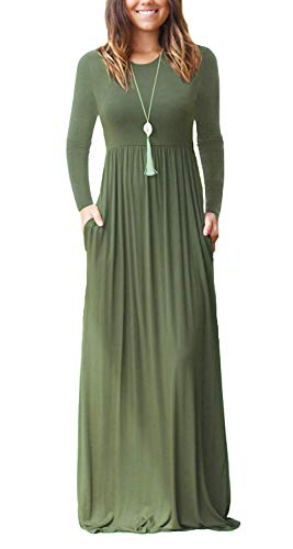 Damen Cocktailkleid Kleid Sexy V-Ausschnitt Langarm Kleider Swing Plain MaxiKleid Lange Kleider mit Taschen