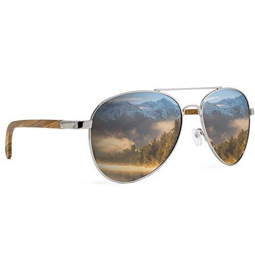 glozzi Gafas de sol de madera polarizadas para hombres y mujeres Aviator UV 400 Categoría 3 con estuche - Zebrano