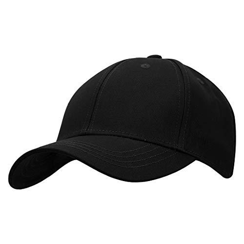 KeepSa Baumwolle Baseball Cap, Basecap Unisex Baseball Kappen, Baseball Mützen für Draussen, Sport oder auf Reisen - Reine Farbe Baseboard Baseballkappe Kappe - Schwarz - Eine Größe einstellbar