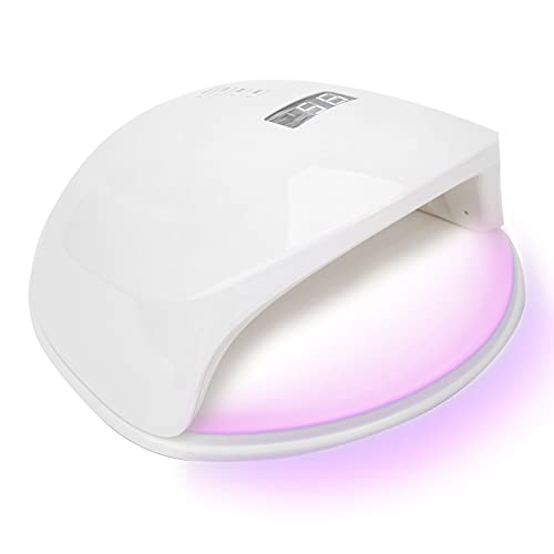 UV-LED-Nagellamp, 56W 28-delige LEDs 180 ° Verlichten Professionele Nageldroger met 3 Snelheden Sneldrogend Draagbaar Gellaklicht Nagellak-Uithardingslamp met Rood Licht Slimme Sensor voor Thuis(EU)