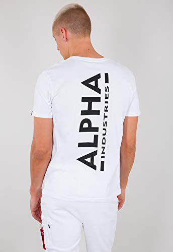 ALPHA INDUSTRIES Herren Backprint T T-Shirt, Blanco, L