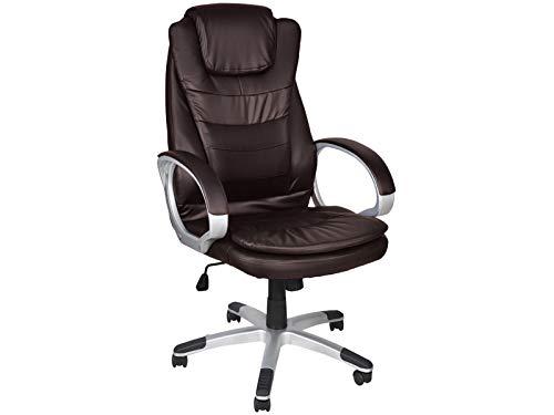 MALATEC Bürostuhl Chefsessel Profi Drehstuhl Kunstleder Weiß Schwarz Braun bis 130kg Belastbar 2731, Farbe:Braun