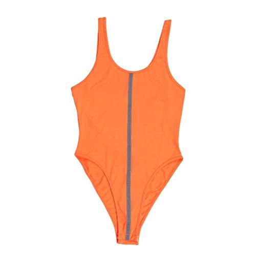 JUSTTIME dames reflecterende badpakken Vest-Type Jumpsuit Bodemjas met Reflecterende Strips L ORANJE
