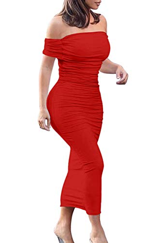 GOBLES Women's Ruched Off Shoulder Short Sleeve Bodycon Midi Elegant Cocktail Party Dress Red