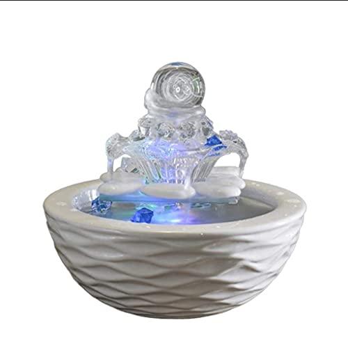 QULONG Decoración de Interiores Fuente de Agua de Cristal Moderna para Interiores para Feng Shui Decoración del hogar Característica de Agua Adornos de Escritorio